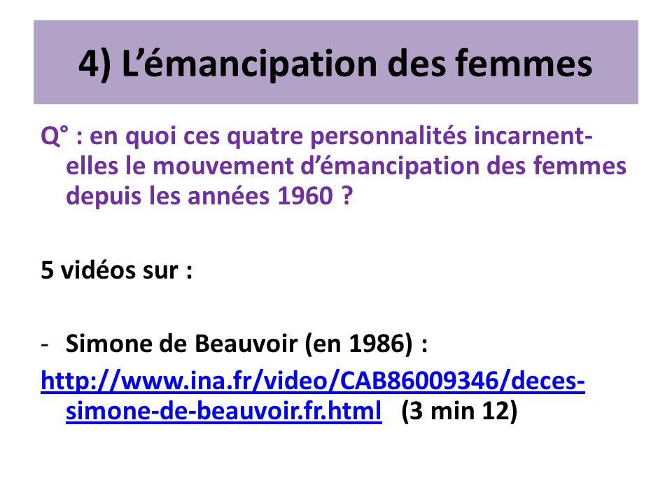 4) Lémancipation des femmes Q° : en quoi ces quatre personnalités incarnent- elles le mouvement démancipation des femmes depuis les années 1960 ? 5 vi