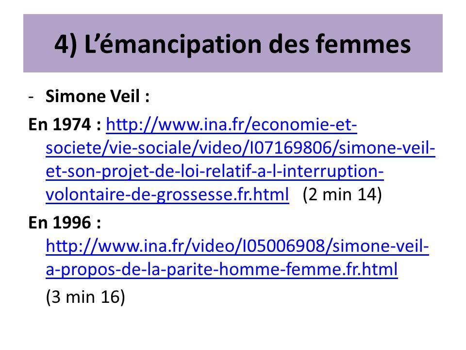 4) Lémancipation des femmes -Simone Veil : En 1974 : http://www.ina.fr/economie-et- societe/vie-sociale/video/I07169806/simone-veil- et-son-projet-de-