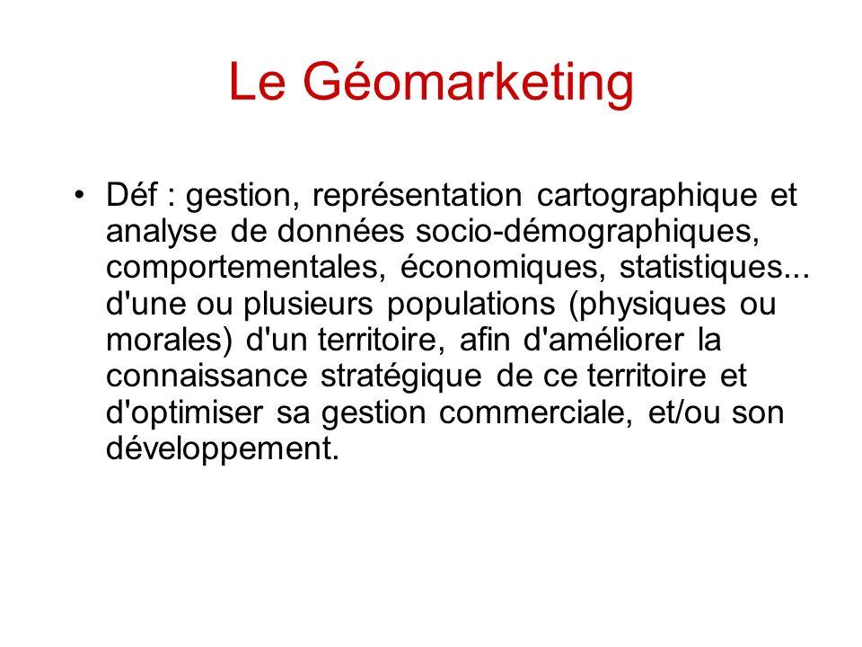 Le Géomarketing Déf : gestion, représentation cartographique et analyse de données socio-démographiques, comportementales, économiques, statistiques..