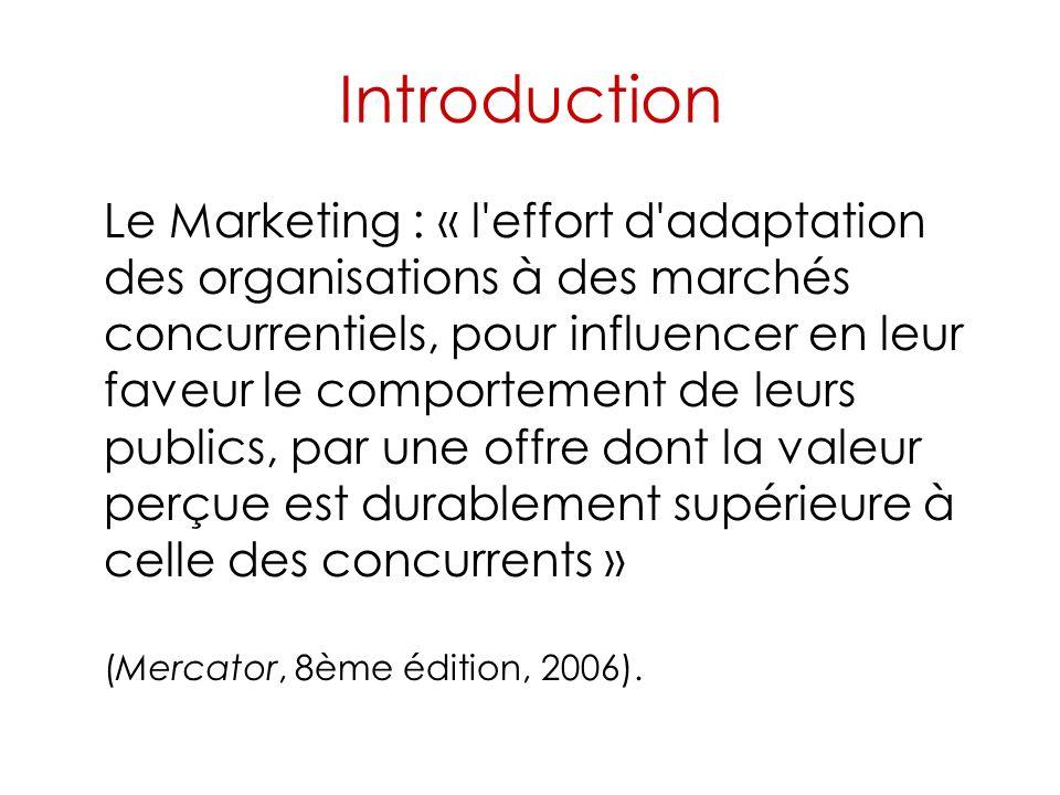 Introduction Le Marketing : « l effort d adaptation des organisations à des marchés concurrentiels, pour influencer en leur faveur le comportement de leurs publics, par une offre dont la valeur perçue est durablement supérieure à celle des concurrents » (Mercator, 8ème édition, 2006).