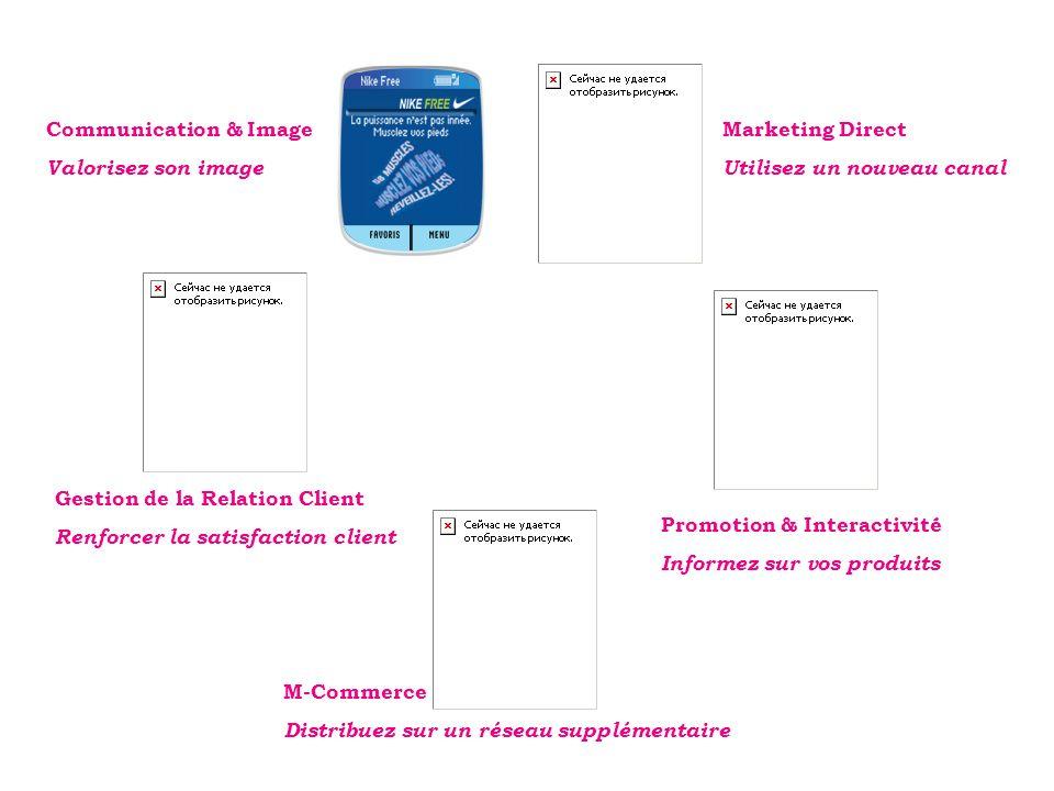Communication & Image Valorisez son image Marketing Direct Utilisez un nouveau canal Gestion de la Relation Client Renforcer la satisfaction client M-Commerce Distribuez sur un réseau supplémentaire Promotion & Interactivité Informez sur vos produits
