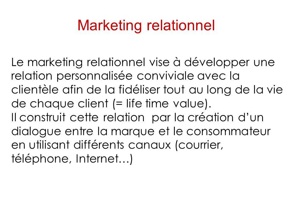 Marketing relationnel Le marketing relationnel vise à développer une relation personnalisée conviviale avec la clientèle afin de la fidéliser tout au long de la vie de chaque client (= life time value).