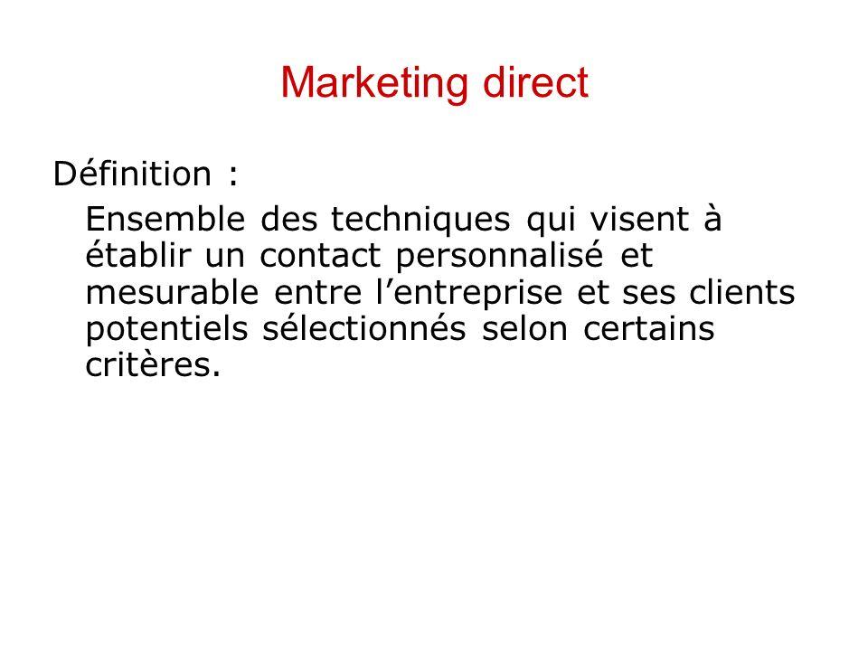 Marketing direct Définition : Ensemble des techniques qui visent à établir un contact personnalisé et mesurable entre lentreprise et ses clients poten