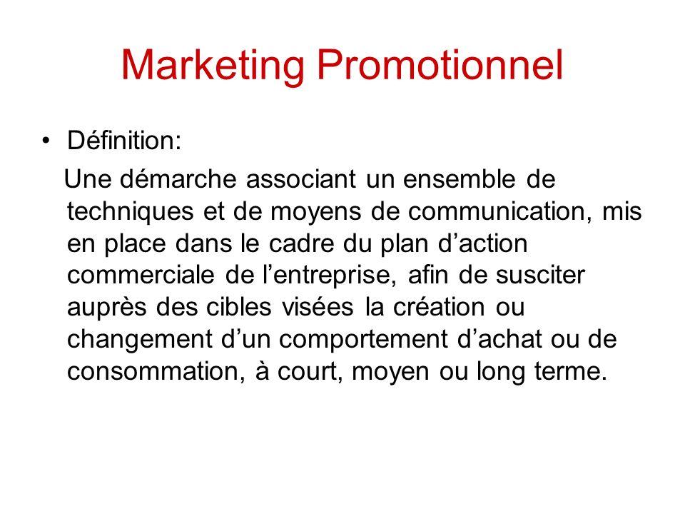 Marketing Promotionnel Définition: Une démarche associant un ensemble de techniques et de moyens de communication, mis en place dans le cadre du plan