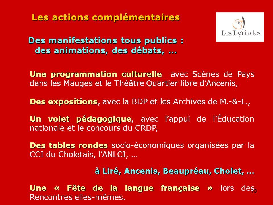 10 Les actions complémentaires Des manifestations tous publics : des animations, des débats, … Une programmation culturelle Une programmation culturel