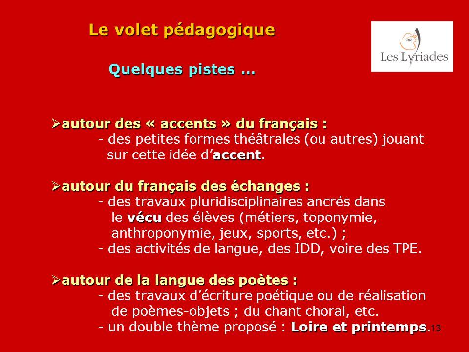 13 Le volet pédagogique Quelques pistes … autour des « accents » du français : autour des « accents » du français : - des petites formes théâtrales (o