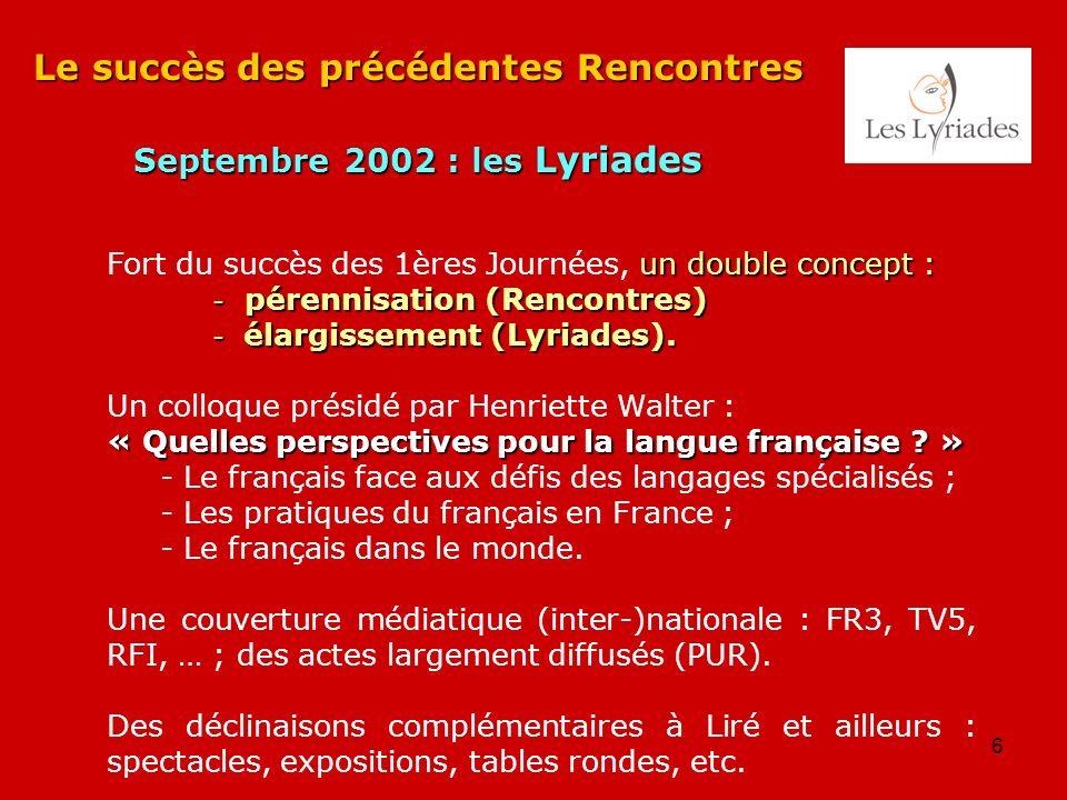 6 Le succès des précédentes Rencontres Septembre 2002 : les Lyriades un double concept : Fort du succès des 1ères Journées, un double concept : - pére