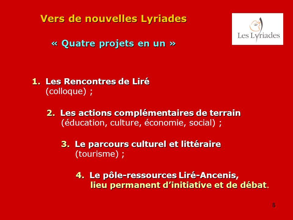 8 Vers de nouvelles Lyriades « Quatre projets en un » 1. Les Rencontres de Liré (colloque) ; 2. Les actions complémentaires de terrain (éducation, cul