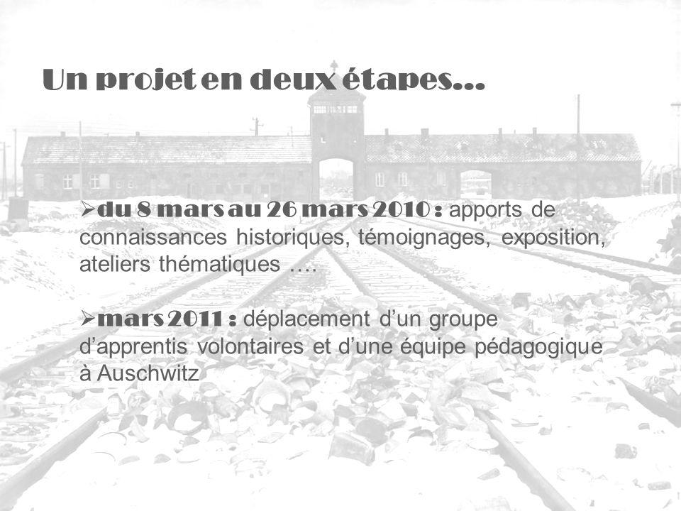 du 8 mars au 26 mars 2010 : apports de connaissances historiques, témoignages, exposition, ateliers thématiques …. mars 2011 : déplacement dun groupe