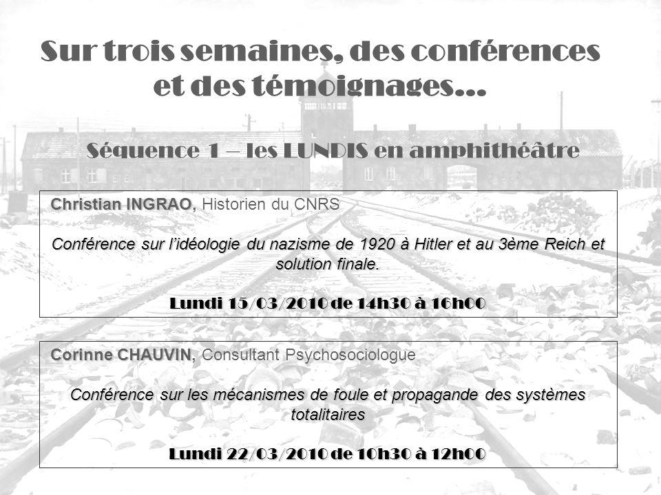 Séquence 1 – les LUNDIS en amphithéâtre Sur trois semaines, des conférences et des témoignages… Christian INGRAO Christian INGRAO, Historien du CNRS C
