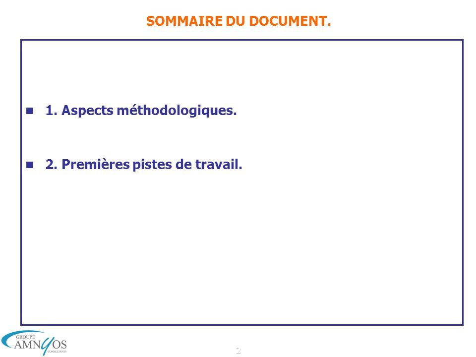 2 SOMMAIRE DU DOCUMENT. 1. Aspects méthodologiques. 2. Premières pistes de travail.