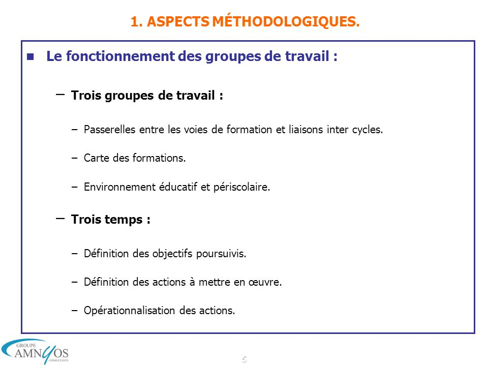 5 1. ASPECTS MÉTHODOLOGIQUES. Le fonctionnement des groupes de travail : – Trois groupes de travail : –Passerelles entre les voies de formation et lia