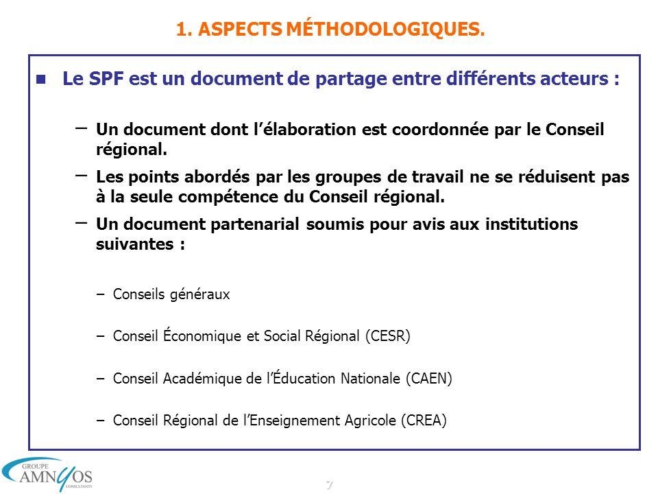 7 1. ASPECTS MÉTHODOLOGIQUES. Le SPF est un document de partage entre différents acteurs : – Un document dont lélaboration est coordonnée par le Conse