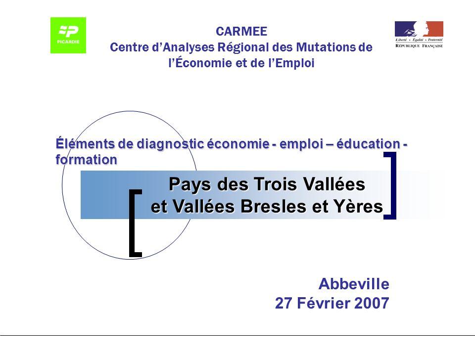 Pays des Trois Vallées et Vallées Bresles et Yères CARMEE Centre dAnalyses Régional des Mutations de lÉconomie et de lEmploi Éléments de diagnostic économie - emploi – éducation - formation Abbeville 27 Février 2007