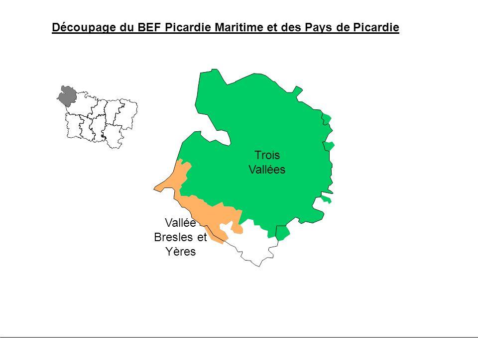 Trois Vallées Vallée Bresles et Yères Découpage du BEF Picardie Maritime et des Pays de Picardie