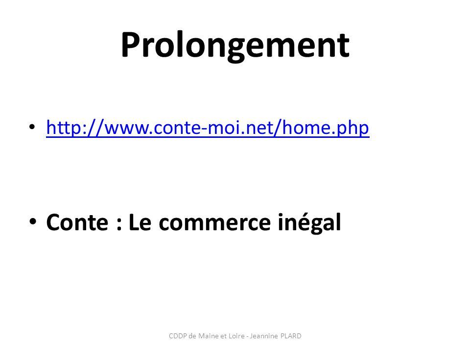 CDDP de Maine et Loire - Jeannine PLARD Prolongement http://www.conte-moi.net/home.php Conte : Le commerce inégal