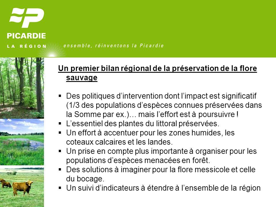 Un premier bilan régional de la préservation de la flore sauvage Des politiques dintervention dont limpact est significatif (1/3 des populations despè