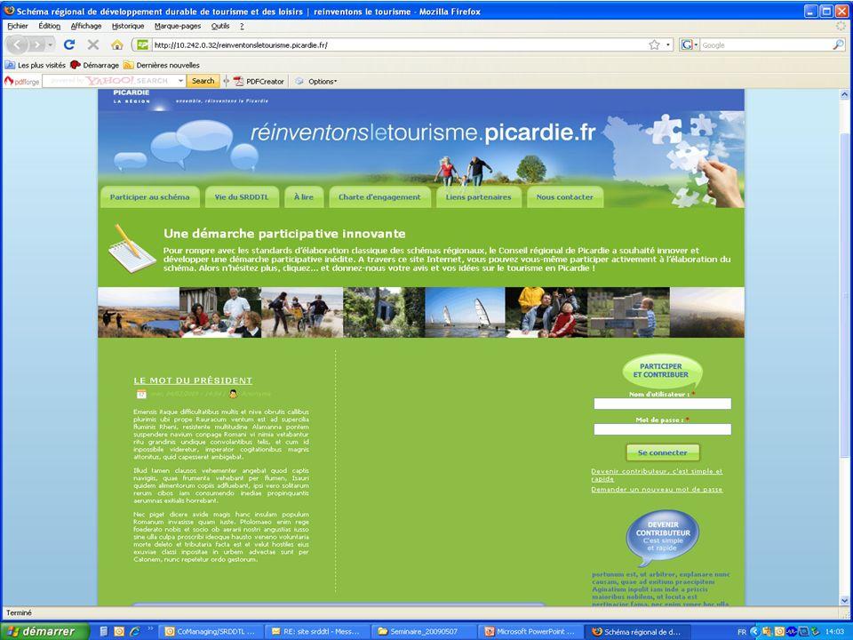 SCHEMA REGIONAL DE DEVELOPPEMENT DURABLE DU TOURISME ET DES LOISIRS LA PLATEFORME CITOYENNE COLLABORATIVE PRESENTATION DU SITE http://10.242.0.32/reinventonsletourisme.picardie.fr/