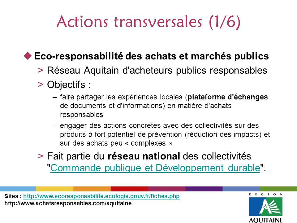 Actions transversales (1/6) Eco-responsabilité des achats et marchés publics >Réseau Aquitain d'acheteurs publics responsables >Objectifs : –faire par