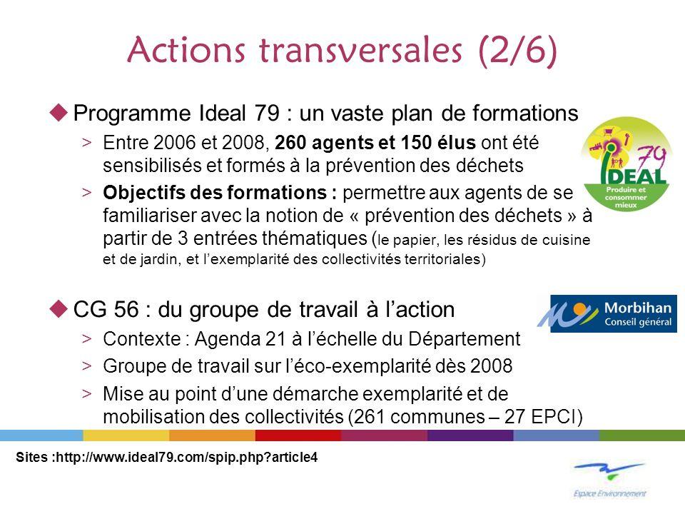 Actions transversales (2/6) Programme Ideal 79 : un vaste plan de formations >Entre 2006 et 2008, 260 agents et 150 élus ont été sensibilisés et formé