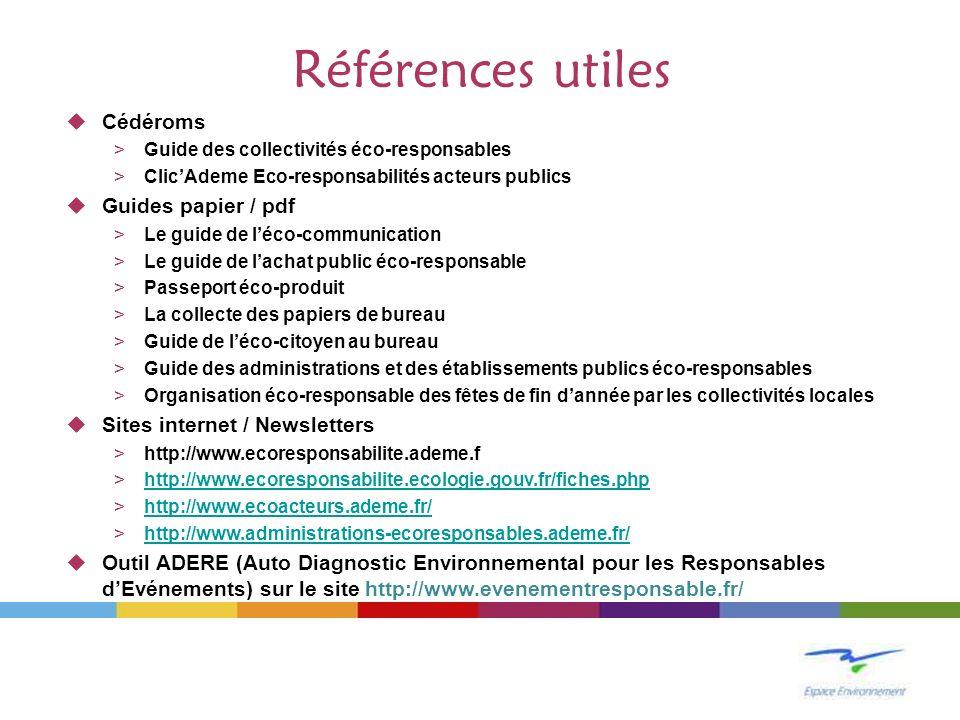 Références utiles Cédéroms >Guide des collectivités éco-responsables >ClicAdeme Eco-responsabilités acteurs publics Guides papier / pdf >Le guide de l