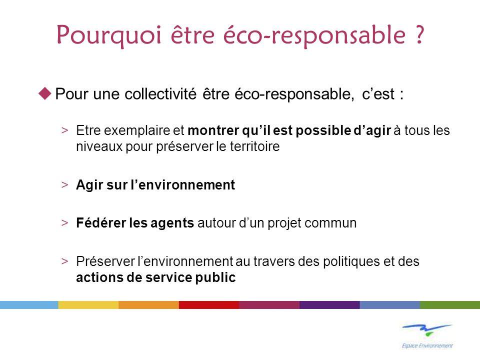 Pourquoi être éco-responsable ? Pour une collectivité être éco-responsable, cest : >Etre exemplaire et montrer quil est possible dagir à tous les nive