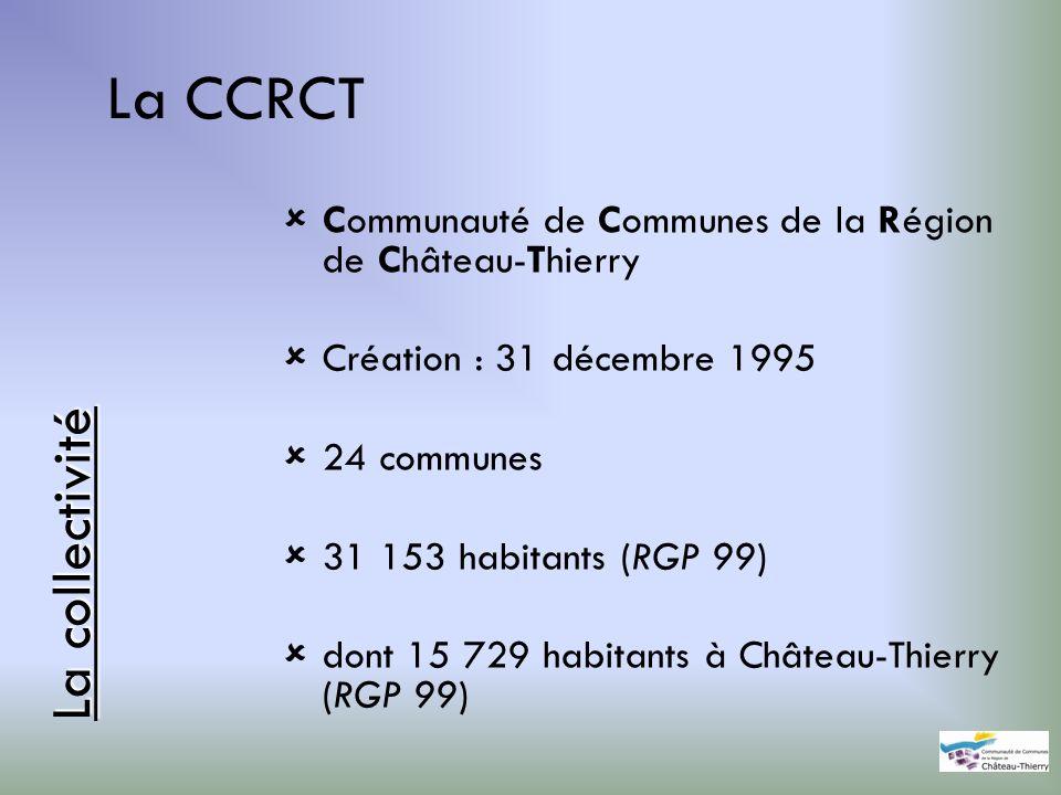 La CCRCT Communauté de Communes de la Région de Château-Thierry Création : 31 décembre 1995 24 communes 31 153 habitants (RGP 99) dont 15 729 habitant