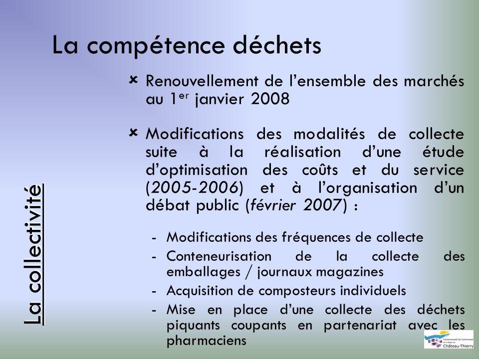 La compétence déchets Renouvellement de lensemble des marchés au 1 er janvier 2008 Modifications des modalités de collecte suite à la réalisation dune