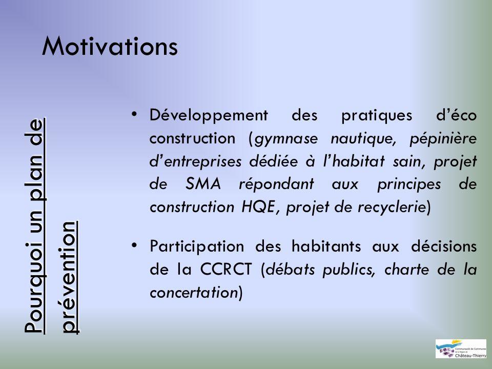 Motivations Développement des pratiques déco construction (gymnase nautique, pépinière dentreprises dédiée à lhabitat sain, projet de SMA répondant au