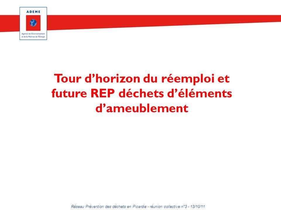 Réseau Prévention des déchets en Picardie - réunion collective n°3 - 13/10/11 Tour dhorizon du réemploi et future REP déchets déléments dameublement