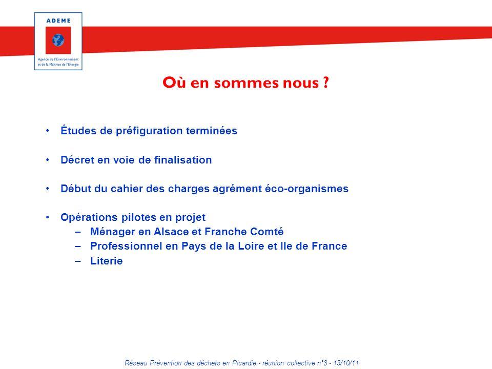 Réseau Prévention des déchets en Picardie - réunion collective n°3 - 13/10/11 Où en sommes nous ? Études de préfiguration terminées Décret en voie de