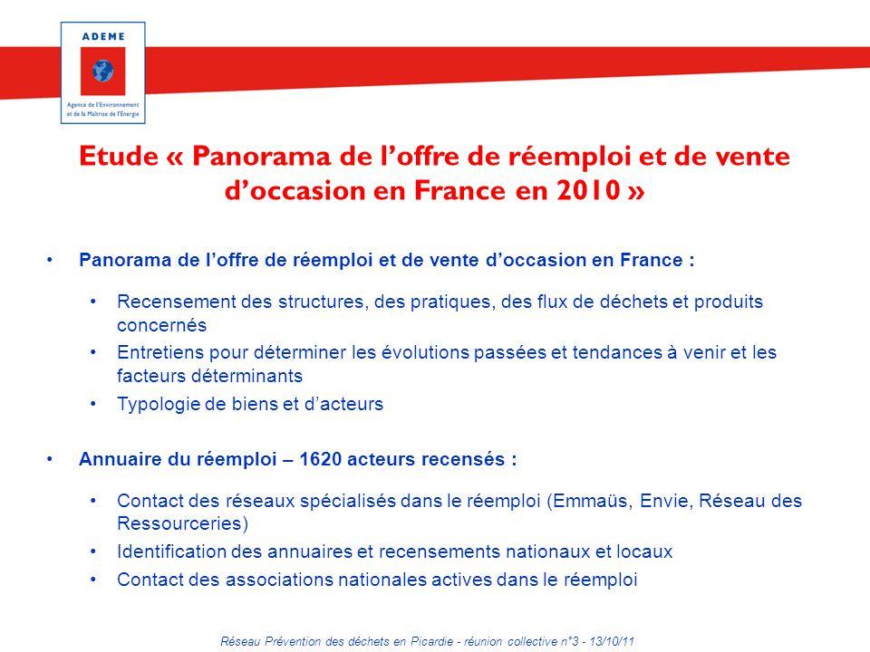 Réseau Prévention des déchets en Picardie - réunion collective n°3 - 13/10/11 Etude « Panorama de loffre de réemploi et de vente doccasion en France e