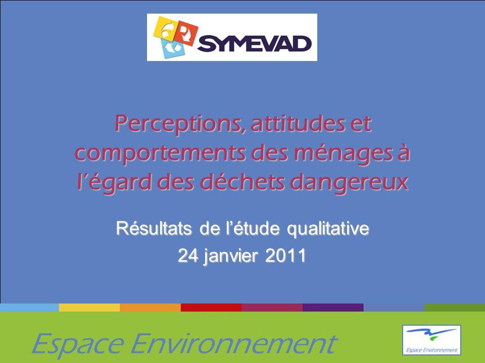 Espace Environnement Perceptions, attitudes et comportements des ménages à légard des déchets dangereux Résultats de létude qualitative 24 janvier 201