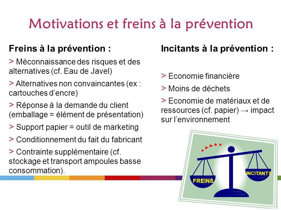 Motivations et freins à la prévention Freins à la prévention : > Méconnaissance des risques et des alternatives (cf. Eau de Javel) > Alternatives non