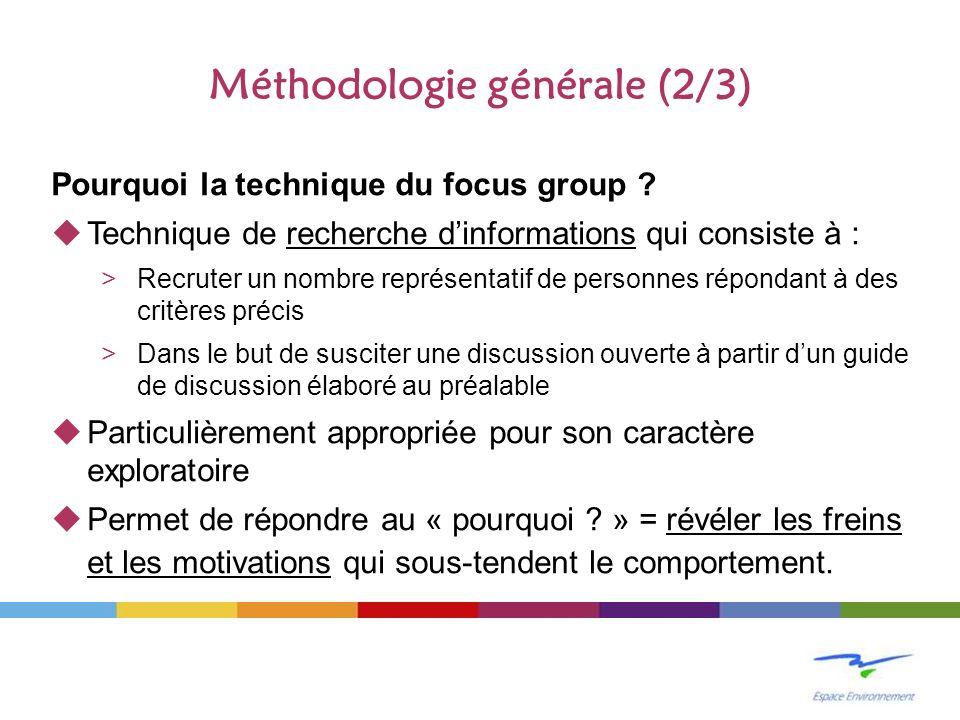 Méthodologie générale (2/3) Pourquoi la technique du focus group ? Technique de recherche dinformations qui consiste à : >Recruter un nombre représent