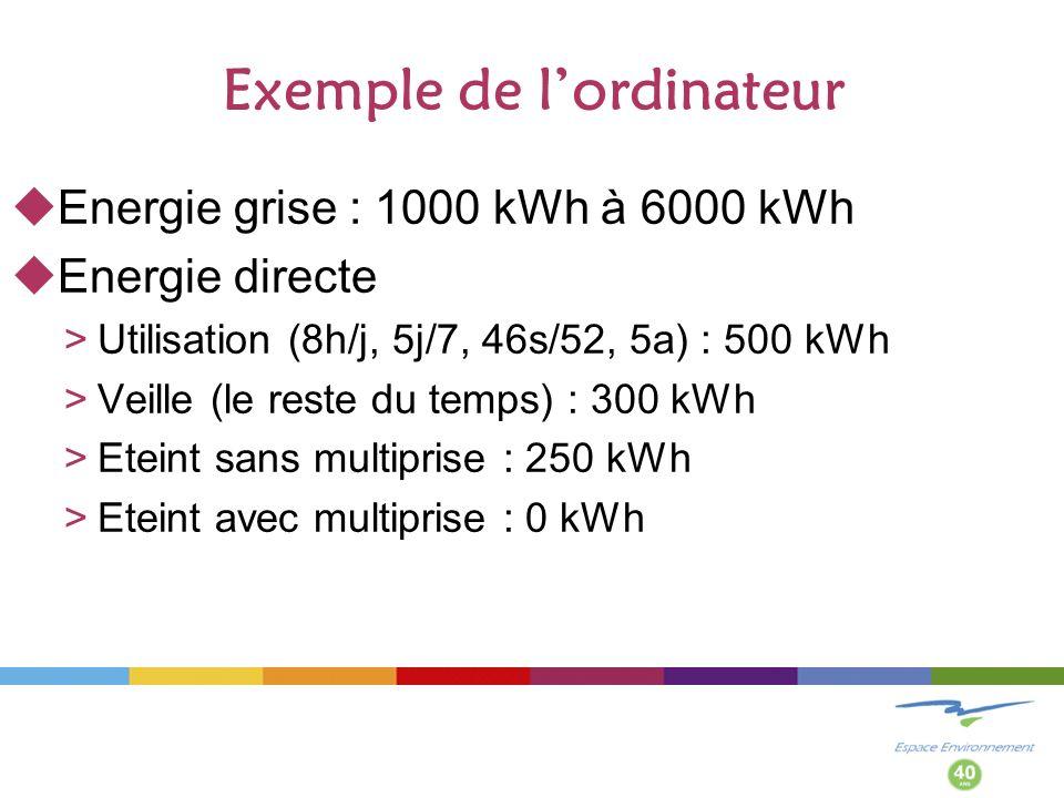 Exemple de lordinateur Energie grise : 1000 kWh à 6000 kWh Energie directe >Utilisation (8h/j, 5j/7, 46s/52, 5a) : 500 kWh >Veille (le reste du temps) : 300 kWh >Eteint sans multiprise : 250 kWh >Eteint avec multiprise : 0 kWh