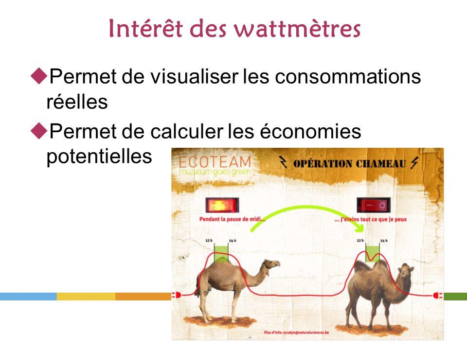 Intérêt des wattmètres Permet de visualiser les consommations réelles Permet de calculer les économies potentielles