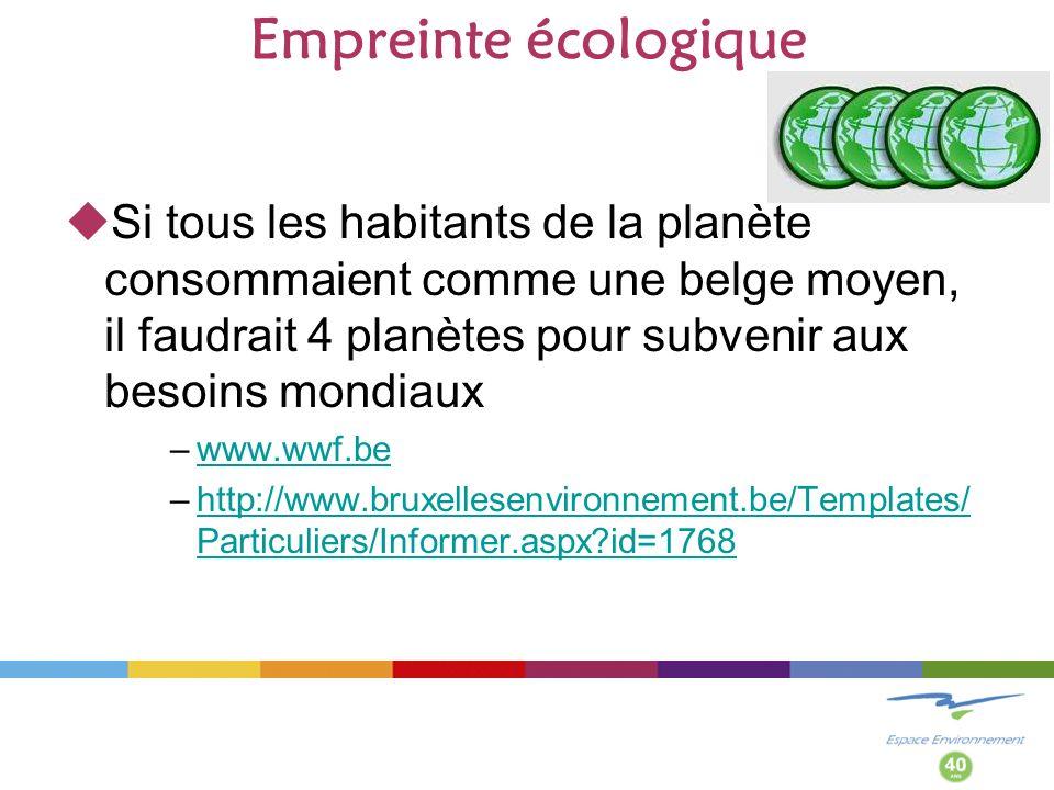 Empreinte écologique Si tous les habitants de la planète consommaient comme une belge moyen, il faudrait 4 planètes pour subvenir aux besoins mondiaux –www.wwf.bewww.wwf.be –http://www.bruxellesenvironnement.be/Templates/ Particuliers/Informer.aspx?id=1768http://www.bruxellesenvironnement.be/Templates/ Particuliers/Informer.aspx?id=1768
