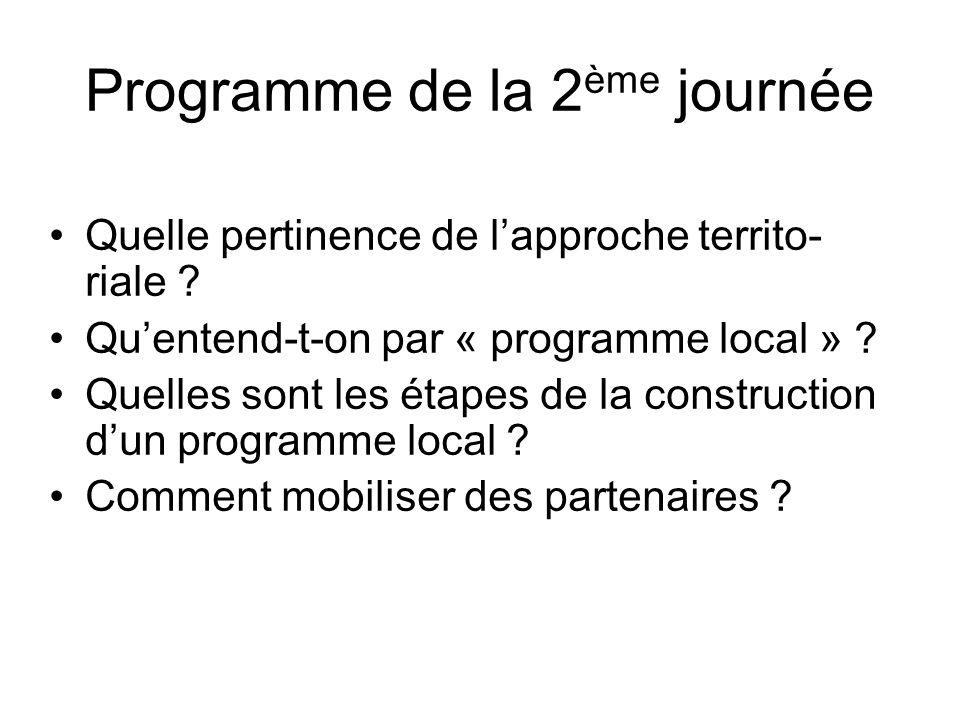 Programme de la 2 ème journée Quelle pertinence de lapproche territo- riale ? Quentend-t-on par « programme local » ? Quelles sont les étapes de la co