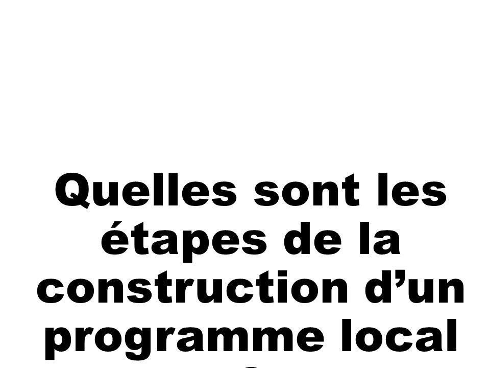 Quelles sont les étapes de la construction dun programme local ?