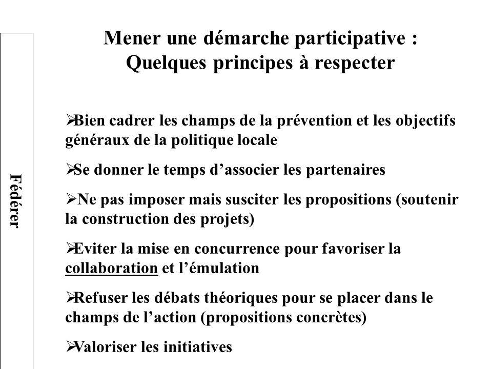Mener une démarche participative : Quelques principes à respecter Bien cadrer les champs de la prévention et les objectifs généraux de la politique lo