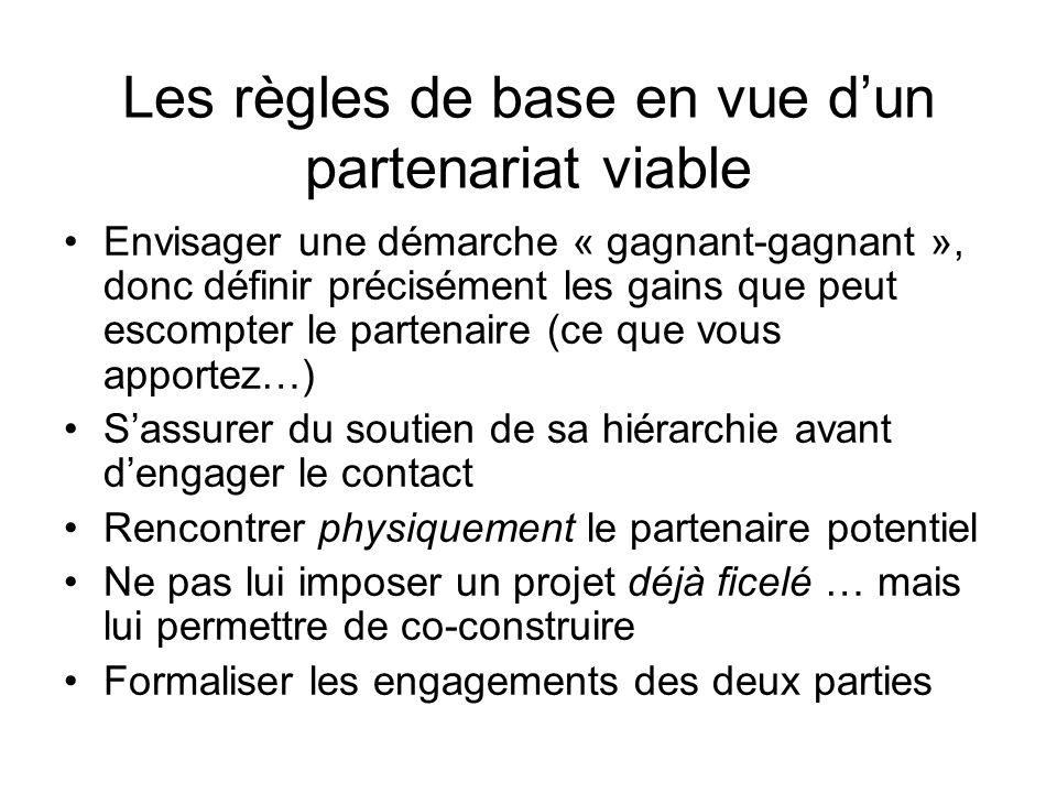 Les règles de base en vue dun partenariat viable Envisager une démarche « gagnant-gagnant », donc définir précisément les gains que peut escompter le