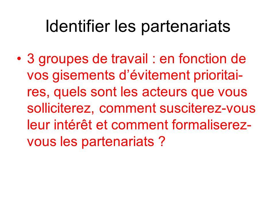 Identifier les partenariats 3 groupes de travail : en fonction de vos gisements dévitement prioritai- res, quels sont les acteurs que vous sollicitere