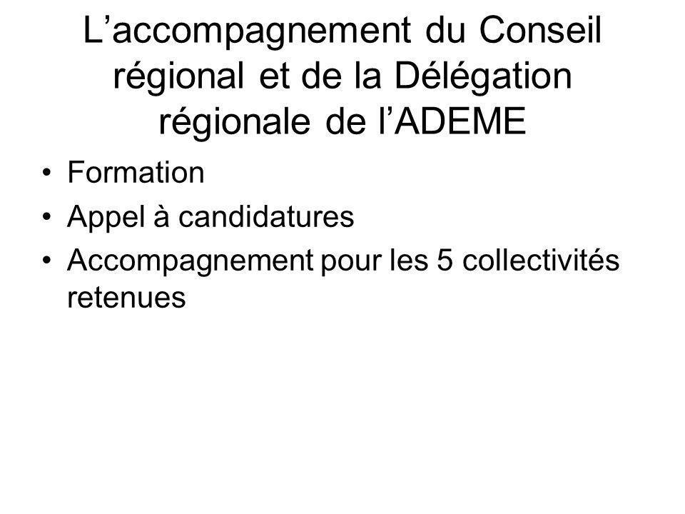 Laccompagnement du Conseil régional et de la Délégation régionale de lADEME Formation Appel à candidatures Accompagnement pour les 5 collectivités retenues