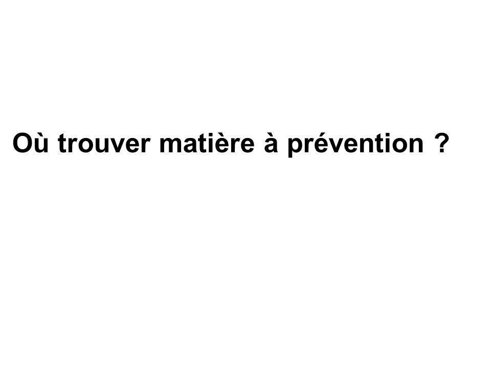Où trouver matière à prévention ?