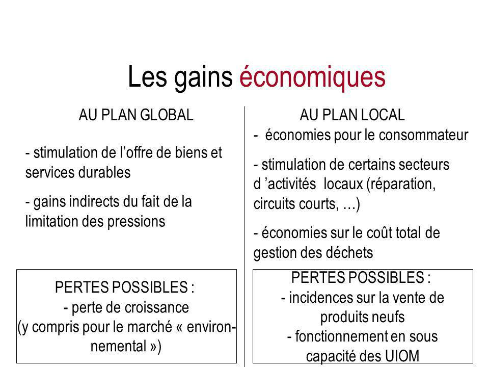 AU PLAN GLOBALAU PLAN LOCAL - stimulation de loffre de biens et services durables - gains indirects du fait de la limitation des pressions - économies