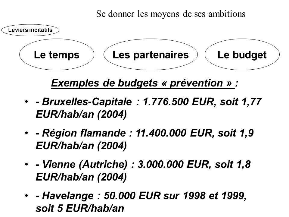 Exemples de budgets « prévention » : - Bruxelles-Capitale : 1.776.500 EUR, soit 1,77 EUR/hab/an (2004) - Région flamande : 11.400.000 EUR, soit 1,9 EUR/hab/an (2004) - Vienne (Autriche) : 3.000.000 EUR, soit 1,8 EUR/hab/an (2004) - Havelange : 50.000 EUR sur 1998 et 1999, soit 5 EUR/hab/an Le tempsLes partenairesLe budget Leviers incitatifs Se donner les moyens de ses ambitions