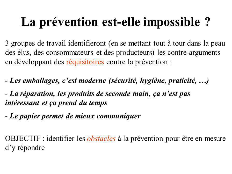 La prévention est-elle impossible ? 3 groupes de travail identifieront (en se mettant tout à tour dans la peau des élus, des consommateurs et des prod