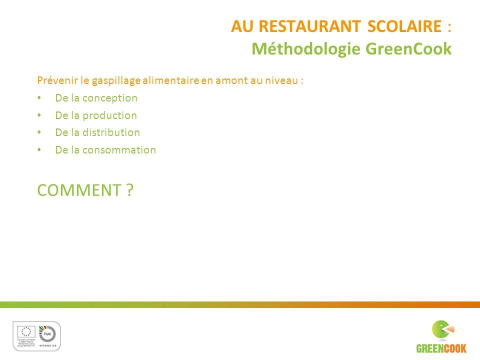AU RESTAURANT SCOLAIRE : Méthodologie GreenCook Prévenir le gaspillage alimentaire en amont au niveau : De la conception De la production De la distri