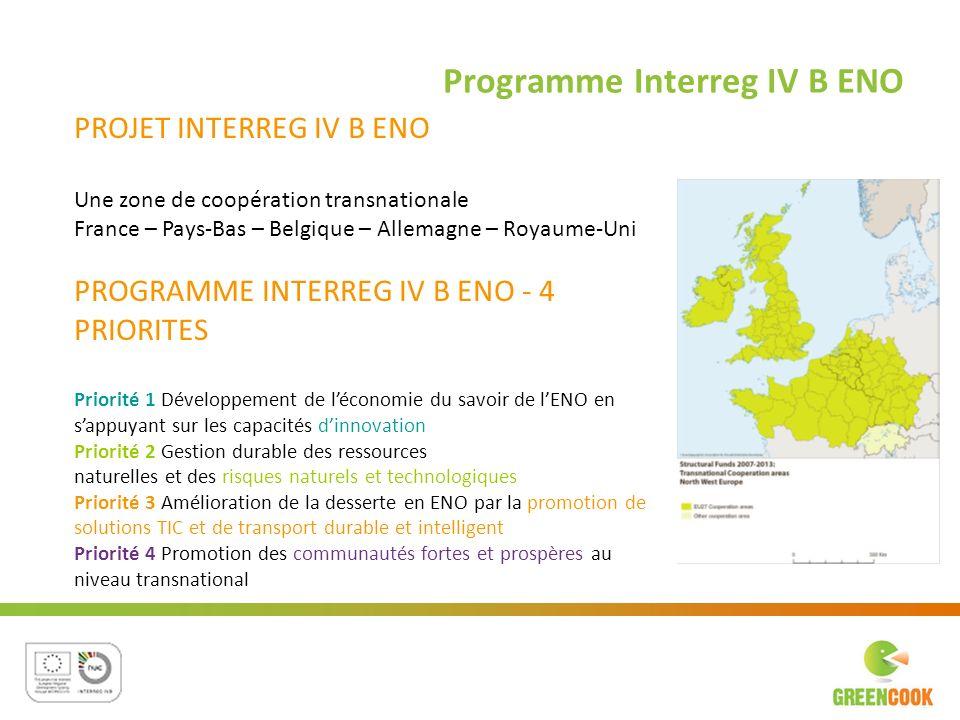 Programme Interreg IV B ENO PROJET INTERREG IV B ENO Une zone de coopération transnationale France – Pays-Bas – Belgique – Allemagne – Royaume-Uni PRO